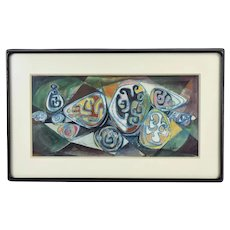 1957 Vintage Mid-Century Modern Watercolor Painting Abstract Symbols sgnd Bond