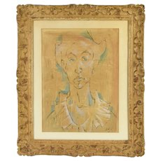Vintage Mid-Century Watercolor painting Man in Ruffled Collar signed Bond