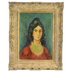 1958 Oil Painting sgd Bond Portrait Woman in Ruffled Collar after Modigliani