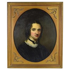 19th Century Oil Painting Portrait of Beautiful Woman in Choker Necklace