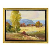 Contemporary Impressionist Landscape w Foothills Painting Signed Clifton