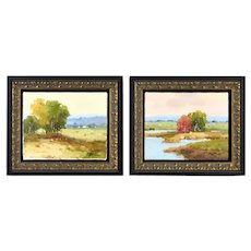 Pair Contemporary Impressionist Landscape Paintings Signed Clifton