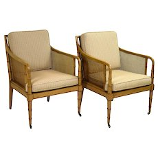 Pair Hickory Chair Company Regency Style Faux Bamboo Caned Arm Chairs