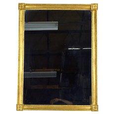 Vintage Giltwood Wall Mirror Beaded Perimeter Carved Acanthus Corner Blocks