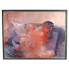 "Large 1980 Carol Fremlin ""Studio Still Life Number One"" Oil Painting"