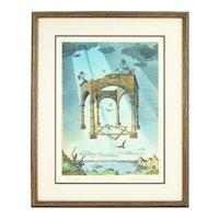 "Vintage ""Tabernacle"" Surrealist Lithograph Artist's Proof Curt Frankenstein"