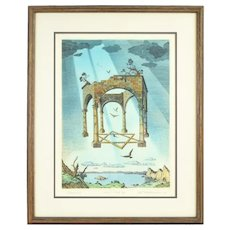 "Vintage ""Tabernacle"" Surrealist Lithograph Artist's Proof Curt Frankenstein"