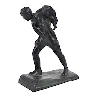 1930's Austrian Bronze Sculpture Hunter Carrying Deer Kill by Laboyteaux