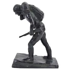 1930's Austrian Bronze Sculpture Hunter Carrying Rifle by Laboyteaux