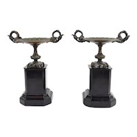 Pair 19th Century Neoclassical Bronze and Black Marble Tazzas