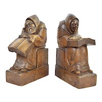 Large Pair Hand Carved Medieval Monks Reading Wooden Bookends