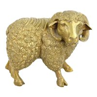 Horned Sheep Ram Figural Bronze Sculpture signed L/E 25 DaNisha Dan Ferguson