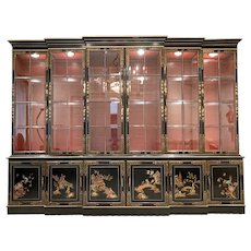 10 Ft. Union National Illuminated Double Breakfront Chinoiserie Asian Cabinet