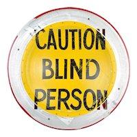 Original Boris Bally Sculptural Transit Traffic Sign Wall Plaque Blind Person