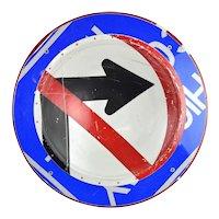 Original Boris Bally Sculptural Transit Traffic Sign Wall Plaque No Turn Arrow