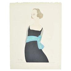 """1919 Robin d'Erlanger """"Femme à la Robe Noir"""" Hand Colored Fashion Print"""