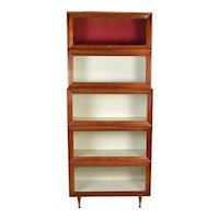 Vintage Mid-Century Modern Lawyers Stacking Barrister Bookcase - as is