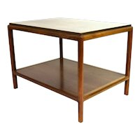 Vintage Mid Century Modern Patinated Brass Clad Walnut End Side Table