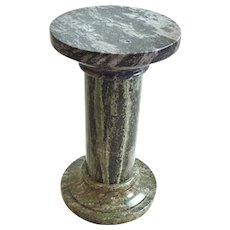 Vintage Figured Granite Neoclassical Column Pedestal Sculpture Stand