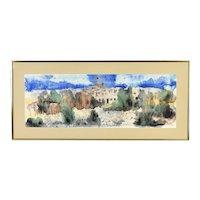 1980 Watercolor Painting Omri Village in Rural Iran Signed