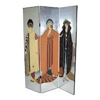 Vintage Art Deco Art Nouveau Style Tri-Fold Screen Room Divider Style of Erte