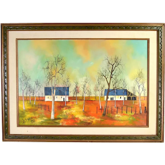 1968 French Midcentury Modern Abstract Oil Painting Landscape w Farm Brulere