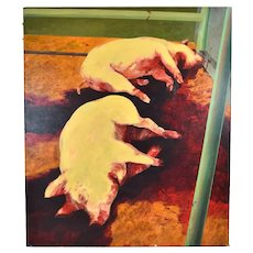 Monumental Pigs Slaughtered Laying in Blood Oil Painting by Bill Iles