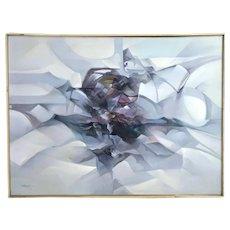 Vintage Mid-Century Modern Abstract Oil Painting Waves of Jewel Tones
