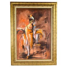 Vintage Midcentury Modern Abstract Oil Painting Cabaret Ballet Dancer Collazzi