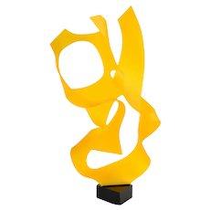 "Michael Plaminek Modern Geometric Abstract Acrylic Sculpture ""Tangerine Orange"""