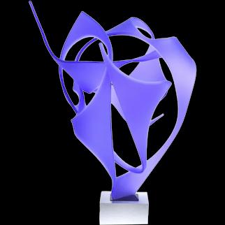 Michael Plaminek Modern Geometric Abstract Acrylic Sculpture Purple Composition