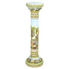 Vintage Italian Capodiomonte Porcelain Pedestal Plant Stand Cherubs and Nudes