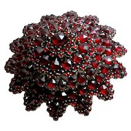 Antique Hand Cut Bohemian Garnet Brooch