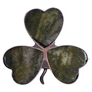 Vintage Connemara Irish Marble English Silver 3 Leaf Clover Lapel Pin / Brooch Hallmarked