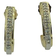 Vintage 2-tone 14K Gold and Diamond Earrings hallmarked