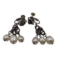 Signed Miriam Haskell dangle clip on Earrings