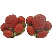 Fabulous Miriam Haskell Red Beaded Clip On Earrings 1930's