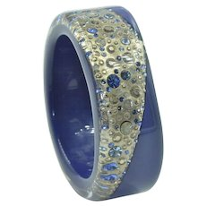 Authentic Henri Bendel Gold & Blue Resin Bangle