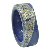 Vintage Gold & Blue Resin Bangle