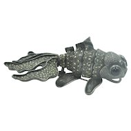 Vintage Sterling Silver & Marcasite Mechanical Koi or Goldfish brooch or pendant