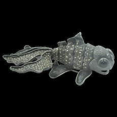 Vintage Sterling Silver & Marcasite Mechanical Koi or Goldfish brooch or pendant