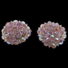 Vintage 'Hobe' Pink Crystal Clip On Earrings 1960's  hallmarked