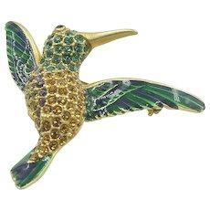 Vintage enamel and rhinestone studded Hummingbird  The Museum Store