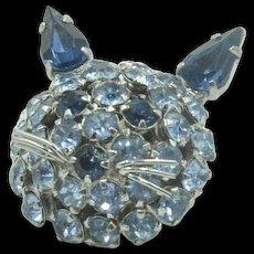 Vintage  signed 'Warner' blue crystal Cat brooch