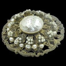 Authentic Miriam Haskell Pearl and Brass Brooch hallmarked
