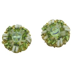 Vintage signed 'Hobe' green beaded clip on earrings