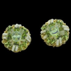 Vintage signed 'Hobe' green beaded clip on earrings