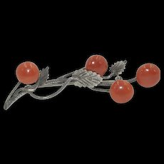 Antique Coral and Sterling Silver Brooch
