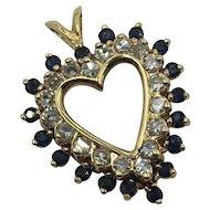 Diamond & Sapphire 14K Gold Heart Pendant