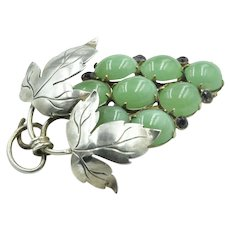 Vintage French Sterling Silver 'Grapes' Brooch